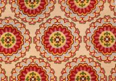 red and orange tufted oriental rug