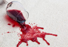 red wine spilled on rug