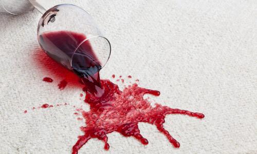 red wine spilled on rug